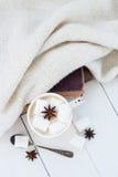 Какао с анисовкой зефира и звезды Стоковые Фото