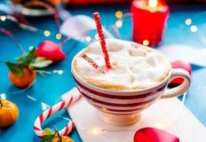 какао с Новым Годом зефира, праздниками, рождество, стоковые фото