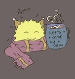Какао чашки желтого милого шарфа изверга теплого голубое Стоковое Изображение RF
