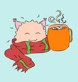Какао чашки шарфа малого милого изверга красное теплое Стоковая Фотография