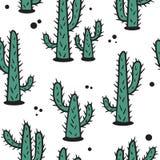Кактусы, безшовная картина иллюстрация штока