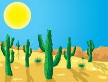 кактус вектора в пустыне Стоковые Фотографии RF