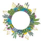 Кактус и Succulents Круглая предпосылка для вашего текста также вектор иллюстрации притяжки corel Стоковые Изображения
