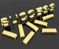 как выигрывать текста символа успеха золота штанг Стоковое Изображение