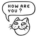 Как вы? Голова кота шаржа речи персоны пузыря вектор графической говоря также вектор иллюстрации притяжки corel Стоковое Изображение