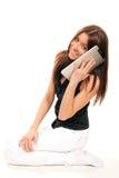 как женщина клетчатого передвижного phonetouch пусковой площадки говоря Стоковое Фото