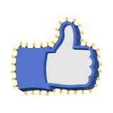 Как знак с накаляя светами Большой палец руки вверх по символу ретро плиты Ha Стоковое Изображение