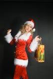 как красивейшая одетьнная девушка santa Стоковое Изображение RF