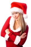 как красивейшая уверенно одетьнная девушка santa Стоковая Фотография RF