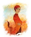 как красивейший дракон одетьнные детеныши девушки Стоковые Фото