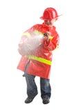 как мальчик одетьнный пожар самолет-истребителя немного вверх стоковые изображения rf