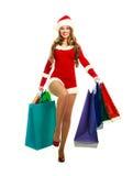 как одетьнная женщина santa Стоковые Изображения RF