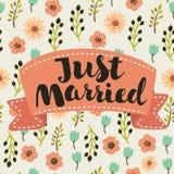 Как раз литерность пожененная, рукой нарисованная для приглашения свадьбы дизайна, верхние слои фото и сохраняют карточки даты Стоковая Фотография