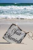 Как раз пожененный на пляже Стоковые Фото