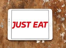 Как раз съешьте логотип компании по доставке еды стоковая фотография rf