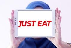 Как раз съешьте логотип компании по доставке еды стоковое изображение rf