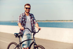 Как раз я и мой велосипед Стоковое Изображение