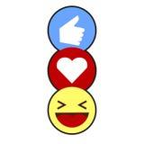Как, сердце, смех Emojis Стоковое Изображение RF