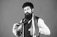 Как соответствовать галстуку рубашке и костюму Владение хипстера человека бородатое немногие галстуки на голубой предпосылке Гай  стоковые изображения rf