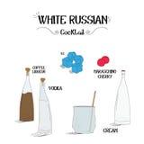 Как сделать белый русский коктеиль установил с ингридиентами для ресторанов и иллюстрации вектора дела бара Стоковое Изображение