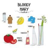 Как сделать коктеиль кровопролитной Mary установил с ингридиентами для ресторанов и иллюстрации вектора дела бара Стоковые Фотографии RF