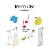 Как сделать коктеиль Тома Collins установил с ингридиентами для ресторанов и иллюстрации вектора дела бара Стоковая Фотография RF