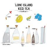 Как сделать коктеиль чая со льдом Лонг-Айленд установил с ингридиентами для ресторанов и иллюстрации вектора дела бара Стоковые Фотографии RF