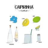 Как сделать коктеиль Caipirinha установил с ингридиентами для ресторанов и иллюстрации вектора дела бара Стоковое фото RF