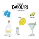 Как сделать первоначально коктеиль дайкири установил с ингридиентами для ресторанов и иллюстрации вектора дела бара Стоковая Фотография