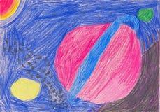 Как чертеж карандаша ` s детей показывая планеты, астероиды и вселенную Стоковые Изображения
