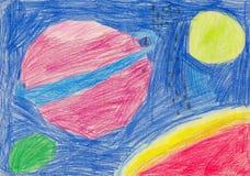Как чертеж карандаша ` s детей показывая планеты, астероиды и вселенную Стоковая Фотография