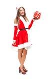 как claus одетьнная женщина santa стоковые фотографии rf