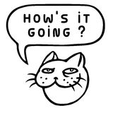 Как ` s оно идя? Голова кота шаржа речи персоны пузыря вектор графической говоря также вектор иллюстрации притяжки corel Стоковая Фотография RF