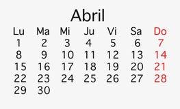 Календарь апреля 2019 строгая иллюстрация штока