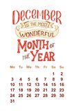 Календарь вектора на 2-ое декабря 0 1 8 Нарисованная рука помечающ буквами цитаты для дизайна календаря Стоковые Фотографии RF