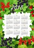 Календарь вектора 2018 свежих ягод и плодоовощей Стоковая Фотография