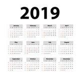 Календарь 2019 вектора серо Старты недели на воскресенье Английский календарь Новый Год Дизайн цвета простой иллюстрация штока