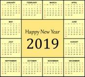 календарь 2019 в желтой предпосылке стоковая фотография rf