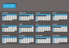 Календарь 2019 года в горизонтальной конструкции Стоковое Изображение RF