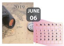 Календарь года 2019 в июне ежемесячный стоковое фото rf