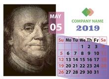 Календарь года 2019 в мае ежемесячный с портретом Бенджамина Франклина стоковая фотография rf