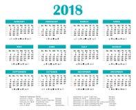 Календарь голубого зеленого цвета 2018 каждогодный Стоковое Изображение RF