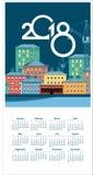 календарь города 2018 зим Стоковое Фото