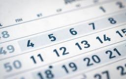 Календарь, двенадцатый номер, пятая часть Стоковая Фотография