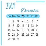 Календарь декабрь 2019 на белой предпосылке бесплатная иллюстрация
