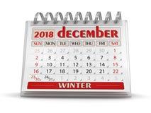 Календарь - декабрь 2018 иллюстрация вектора