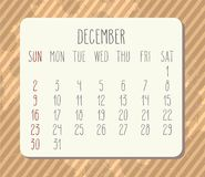 Календарь декабря 2018 иллюстрация вектора