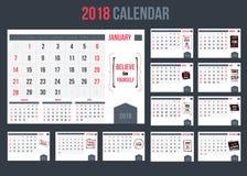 Календарь дела с воодушевлять закавычит 2018, шаблон года для печати иллюстрация вектора