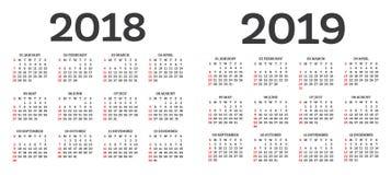 Календарь 2018 2019 изолированное на белой предпосылке иллюстрация штока