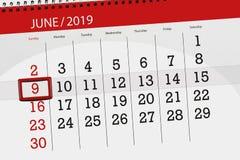 Календарь июнь 2019, 9, воскресенье стоковое фото rf